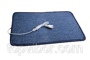 🔝 Электроковрик с подогревом (ковролин) - синий,закругленный, коврик с электро утеплителем Трио | 🎁%🚚