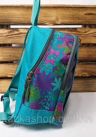 """Тканевой рюкзак бирюзового цвета с декоративным принтом и дополнительным карманом спереди ТМ """"Wallaby"""", фото 2"""