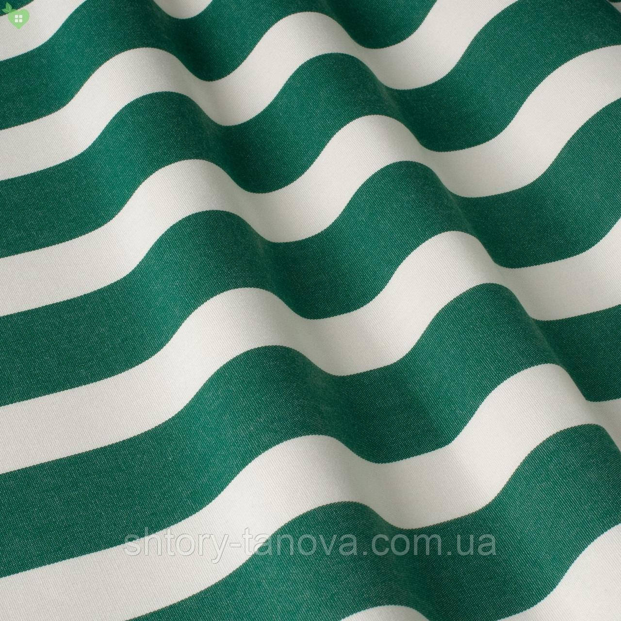 Уличная декоративная ткань в полоску белого и зеленого цвета