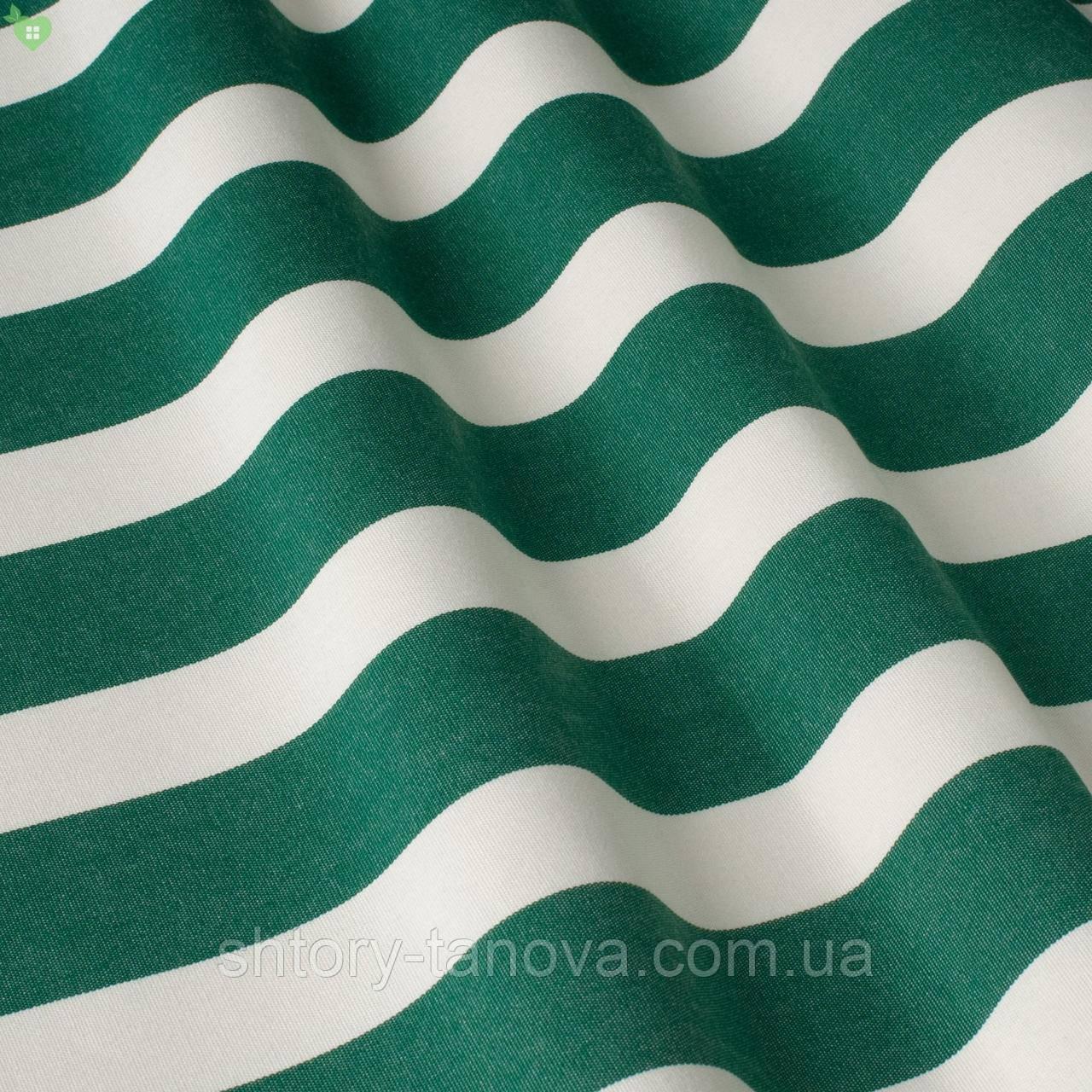 Вулична декоративна тканина в смужку білого і зеленого кольору