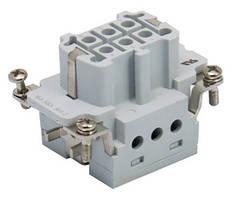"""Контактная группа для многопинового многоконтактного промышленного разъёма типа HDC, винтовые зажимы кабеля 6х16А/500В/6Р+Е, """"мама"""" / """"гнездо"""""""