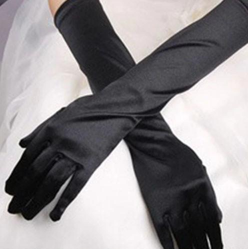 Вечерние атласные перчатки черные