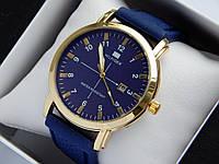 Кварцевые наручные часы Tommy Hilfiger золотого цвета, на каучуковом ремешке, синий циферблат, фото 1