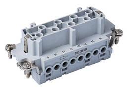"""Контактная группа для многопинового многоконтактного промышленного разъёма типа HDC, винтовые зажимы кабеля 16х16А/500В/16Р+Е, """"мама"""" / """"гнездо"""""""