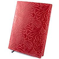 Кожаная обложка для ежедневника / блокнота ф. А5 Амелия (красный цветок)