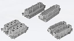Контактная группа для многопинового многоконтактного промышленного разъёма типа HDC, винтовые зажимы кабеля