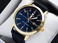 Кварцевые наручные часы Tommy Hilfiger золотого цвета, на каучуковом ремешке, черный циферблат, фото 1