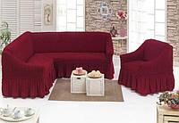Чехол на диван, уговой + кресло, Golden - Турция бордовый