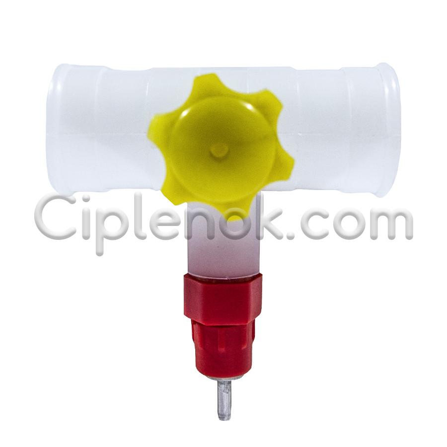 Ниппельная поилка для круглой трубы с креплением на клетку