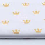 """Отрез ткани с глиттерным """"Золотые короны"""" на белом №1652а, размер 98*160, фото 2"""