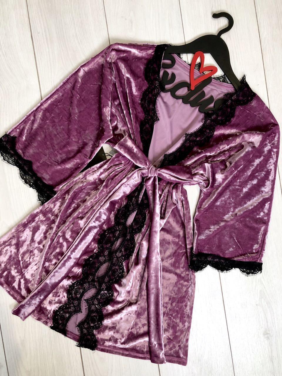 Велюровый халат для дома  с кружевом Exclusive 082-1 pink.