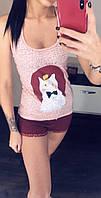 Пижама женская 100% хлопок: майка боксёрка и короткие шорты. Размер единый 42-46.