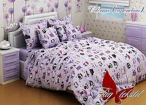 ТМ TAG Комплект постельного белья Совята сиреневый