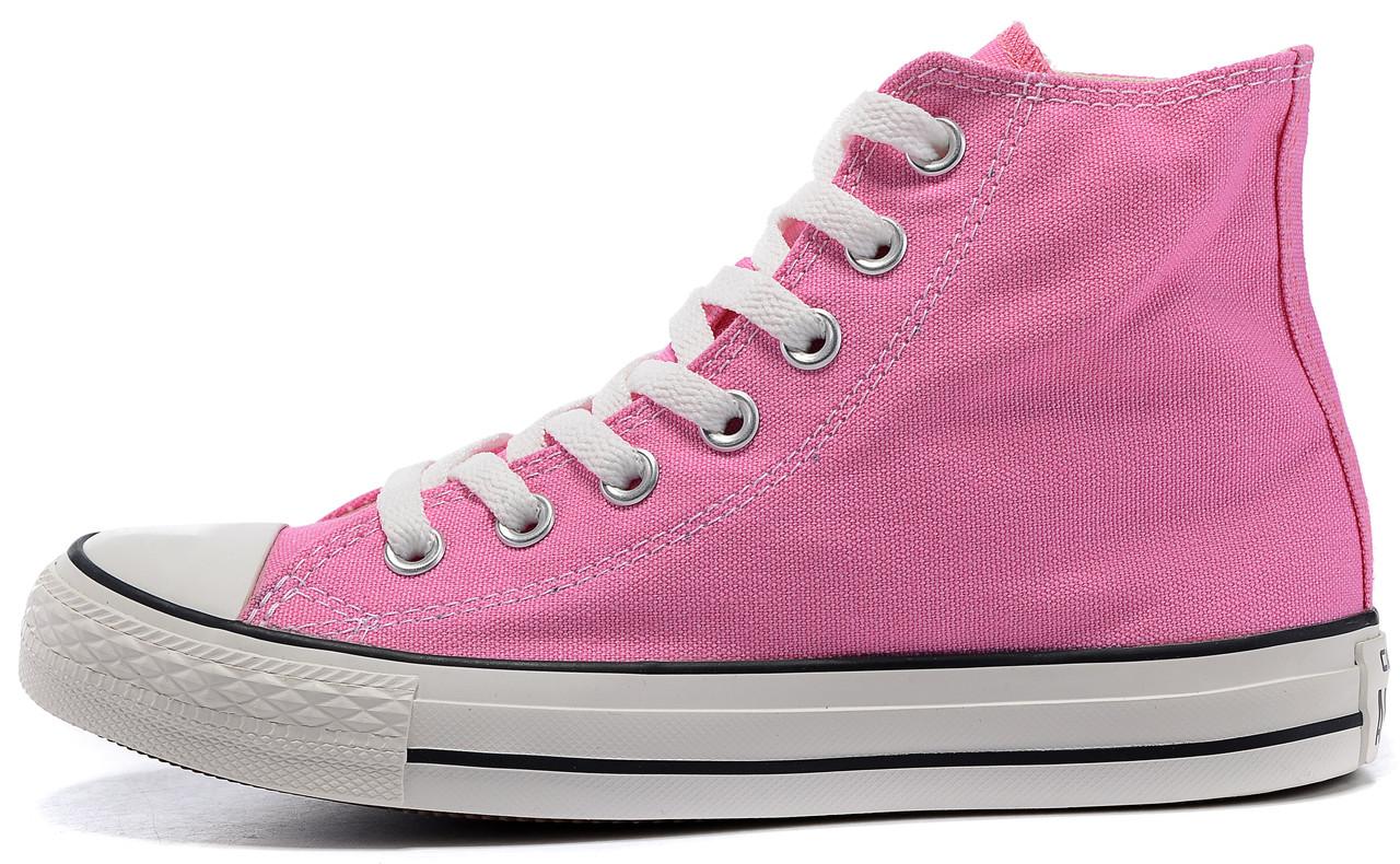 2e6c67bf Женские высокие кеды Converse Chuck Taylor All Star (Конверс) в стиле  розовые - Мультибрендовый