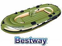 Трехместная надувная лодка BestWay 65001 Voyager 500, 348 см х 141 см, с веслами