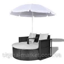Садовый шезлонг диван ракушка из ротанга с зонтом, черный  vidaXL