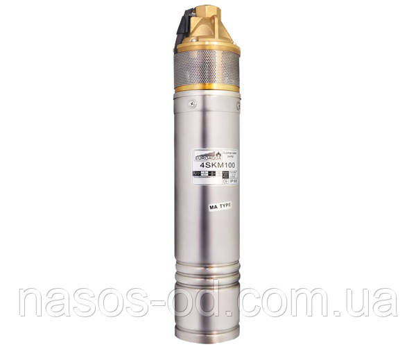 Насос глубинный вихревой Euroaqua 4SKM100 для скважин 0.75кВт Hmax54м Qmax35л/мин Ø95мм (с конденсатором)