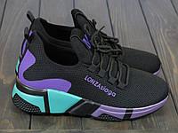 Модные черные с сиреневым женские кроссовки , фото 1