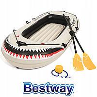Лодка надувная Bestway 61108 Battle Bomber 184х91х37 см (вёсла и насос)