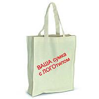Эко-сумка с логотипом от 20 штук, размер 35х40х8 с боковушками