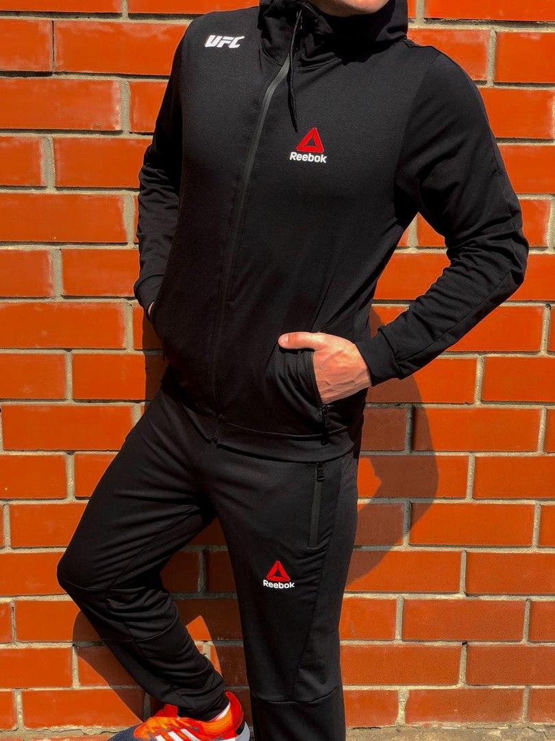 c7c6e4c8777f Спортивный костюм мужской черный Reebok с молниями на карманах топ реплика  - Bigl.ua