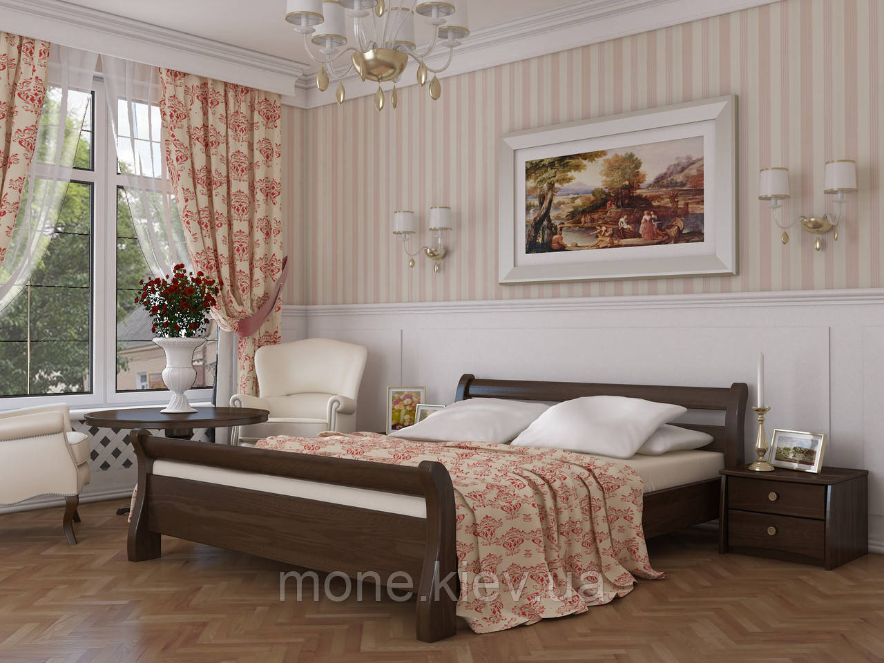 Кровать полуторная Диана деревянная из бука