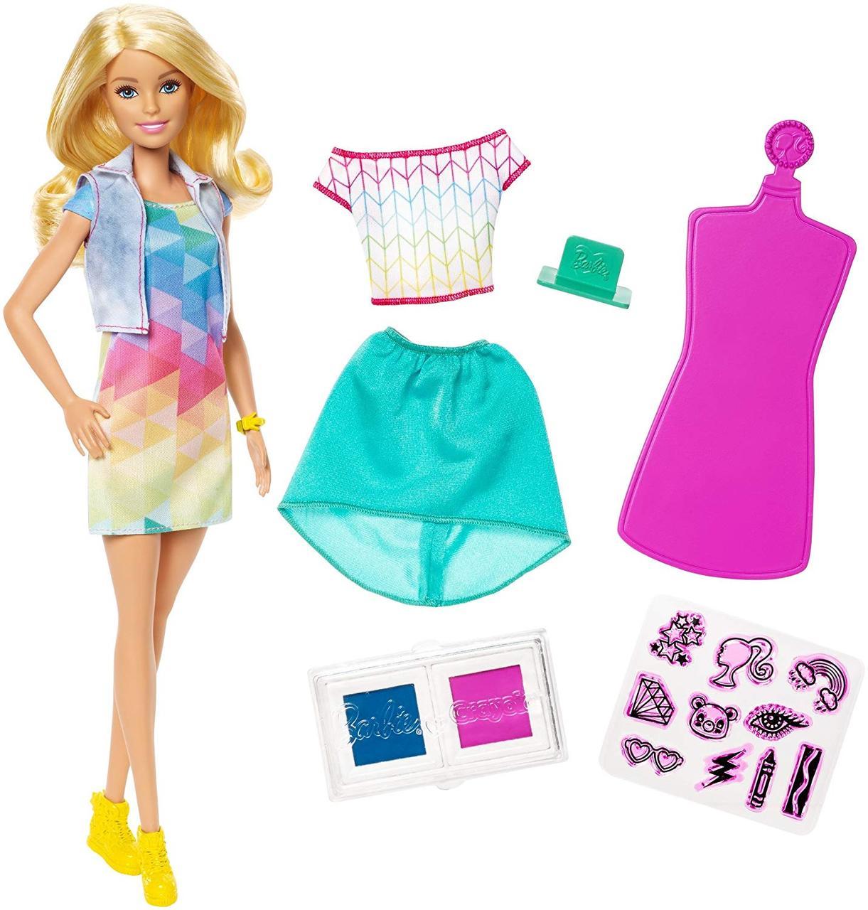Кукла Барби Дизайнер цветной штамп Barbie Crayola Color Stamp Fashions Set Blonde