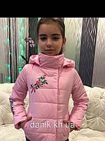 """Куртка для девочек «Вышивка""""розовая"""