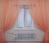 Комплект декоративных штор из шифона, цвет персиковый. 006дк две шторы по 3м.