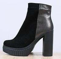 Top деми женские замшевые ботинки ботильоны на широком каблуке с платформой  кожаные вставки черные E40KB00- 16b0c2d49b19a