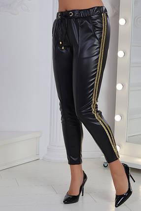 """Кожаные женские брюки на резинке """"Posh"""" с карманами (большие размеры), фото 2"""
