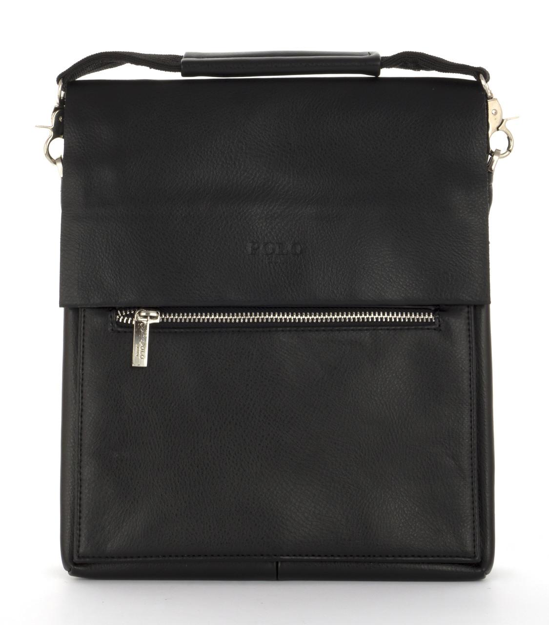 Удобная прочная вместительная мужская сумка с качественной эко кожи POLO art. 310-4 черный