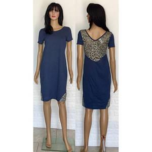 Легкое летнее платье с коротким рукавом из хлопкового трикотажа с кружевом 44-54 р