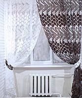 Комплект штор из органзы, цвет коричневый с белым.