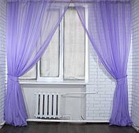 Комплект декоративных штор из шифона, цвет сиреневый. 006дк 2 шторы шириной по 2м.
