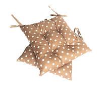 Подушка на стул коричневая в горох 40*40 см
