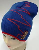 """ОПТ Детская вязаная шапочка для мальчика колпак  """"Зигзаг"""", без завязок"""