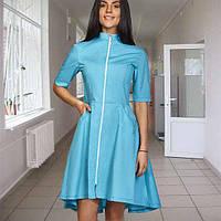 Стильный медицинский халат-платье (батист) Фиалка