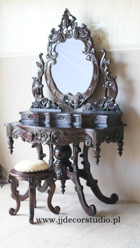 Туалетка з дзеркалом і табуретом ЧЕРВОНЕ ДЕРЕВО
