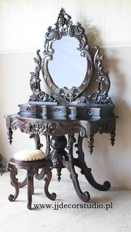 Туалетка з дзеркалом і табуретом ЧЕРВОНЕ ДЕРЕВО, фото 2