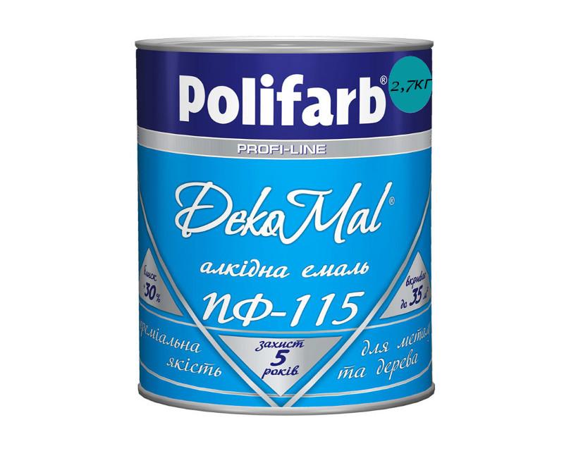 Эмаль алкидная POLIFARB ПФ-115 DEKOMAL универсальна, ярко-голубая, 2,7кг