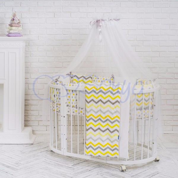 Baby Design Серо-желтые зигзаги