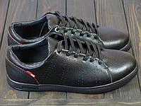 Кожаные мужские кроссовки черные Man's, фото 1