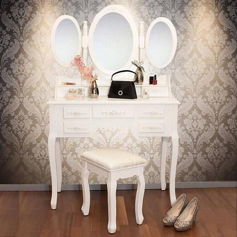 Туалетный стол Triada 90см с зеркалами и табуретом, фото 2