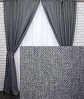 "Комплект готовых светонепроницаемых штор,коллекция блэкаут ""Лён Мешковина"", цвет серый."