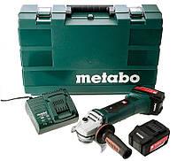 Аккумуляторная болгарка Metabo W 18 LTX 125 + акб Li-Power 18 V 4 Ah + з/у ASC 30-36 V + кейс (602174610)