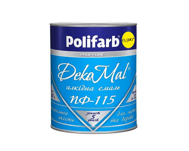 Эмаль алкидная POLIFARB ПФ-115 DEKOMAL универсальна, желтая, 0,9кг