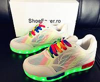 Белые светящиеся LED кроссовки с подсветкой радуга, [ 38]