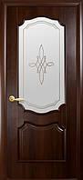 Двери Фортис Вензель DeLuxe витраж, цвет каштан ПО70
