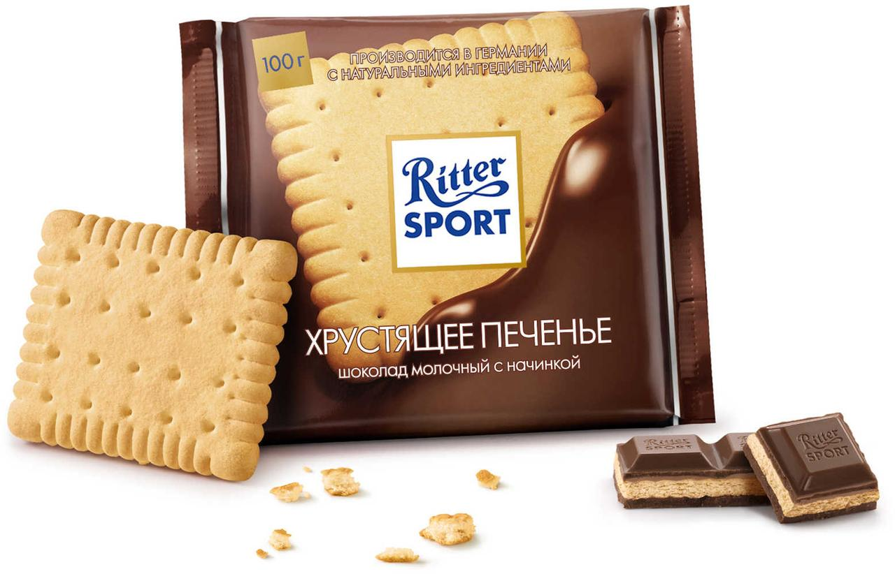 Шоколад молочный Хрустящее печенье Ritter Sport «Knusperkeks», 100г. Германия